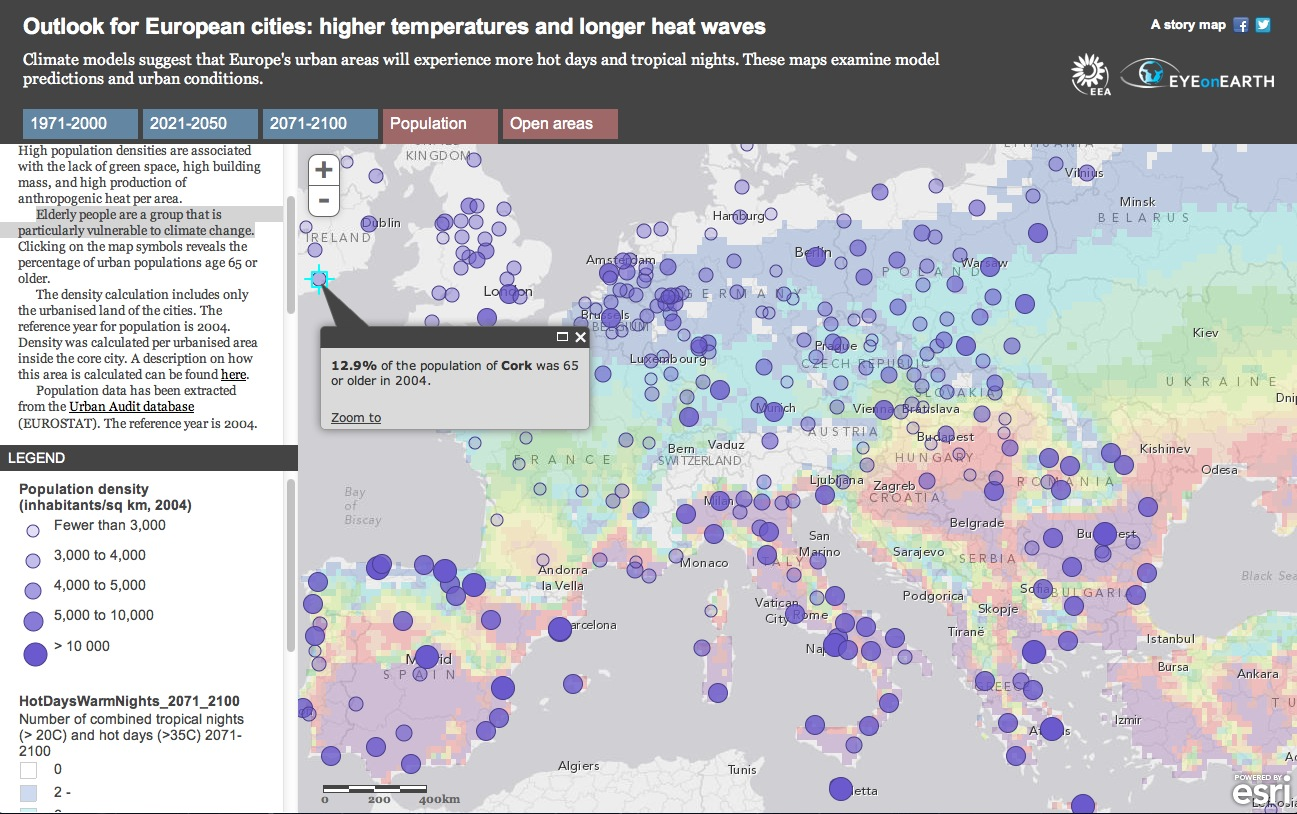 Story Map coupling climate model predictions of hot days and warms nights with population density throughout Europe. Given that elderly people are particularly vulnerable to climate change, clicking on a map symbol shows what percentage of the population was 65 or older in 2004.